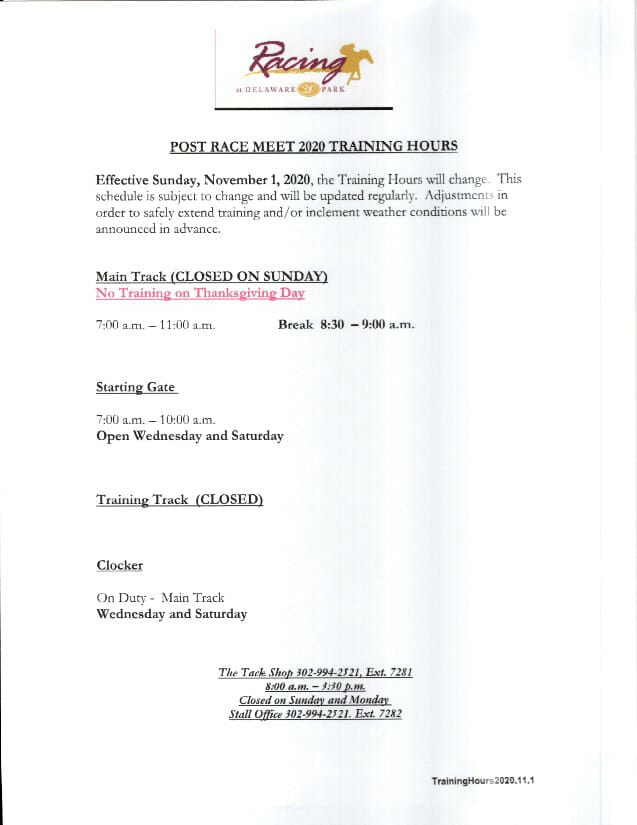image of document with training hours printed
