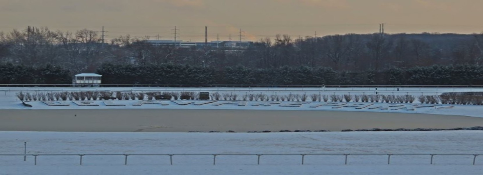 Snow covered race track