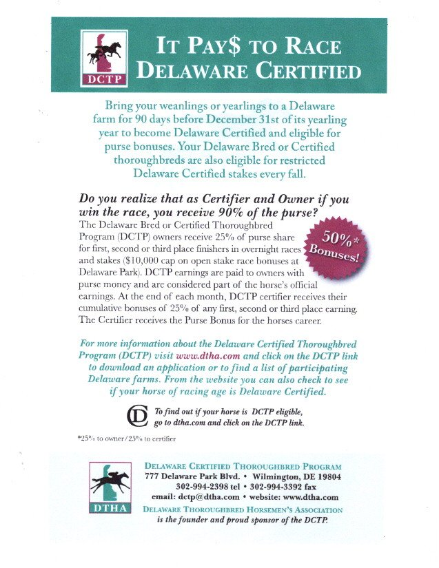 Delaware Certified it pays  to race