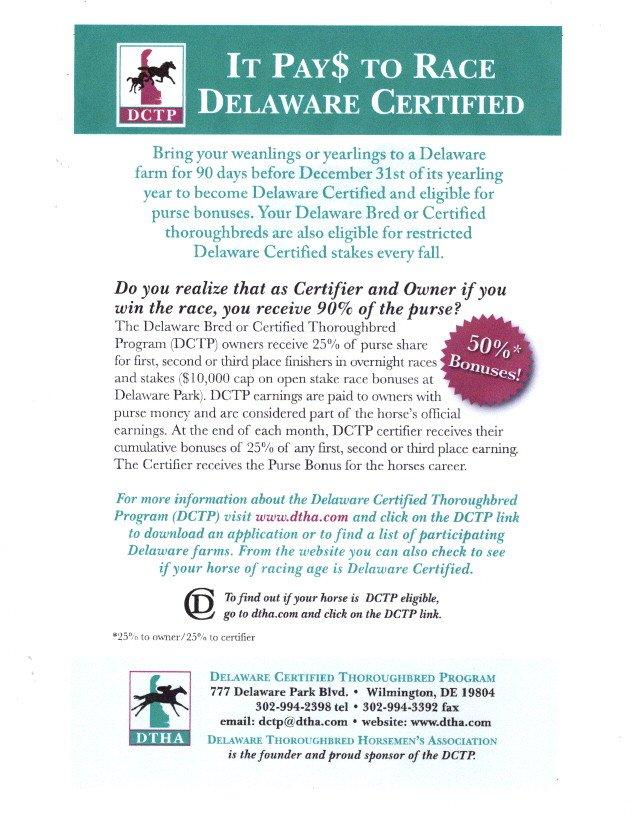 It pays to race Delaware Certifier