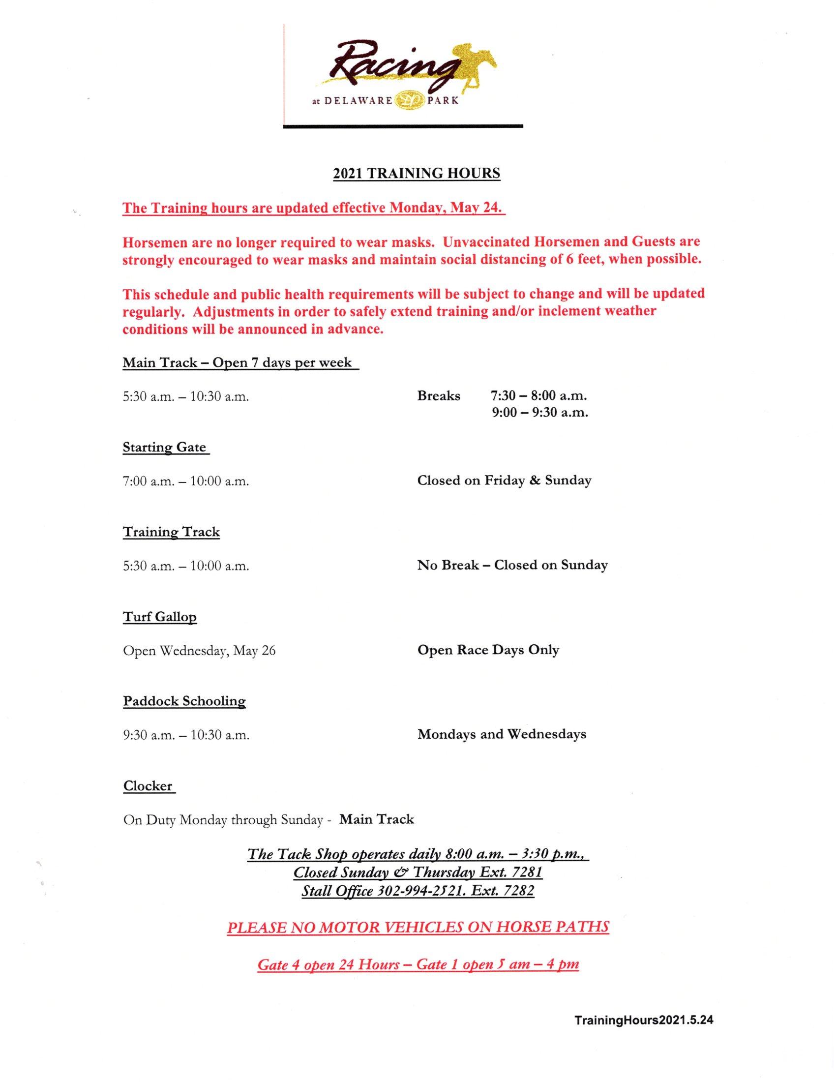 current Training schedule